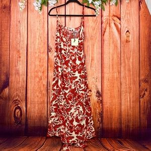 NWT Hinge Red Lava Floral Maxi Wrap Dress